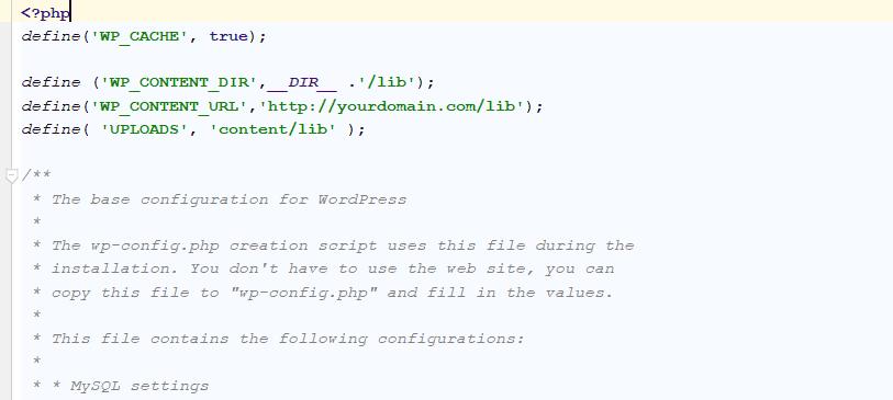 custom wp-content directory